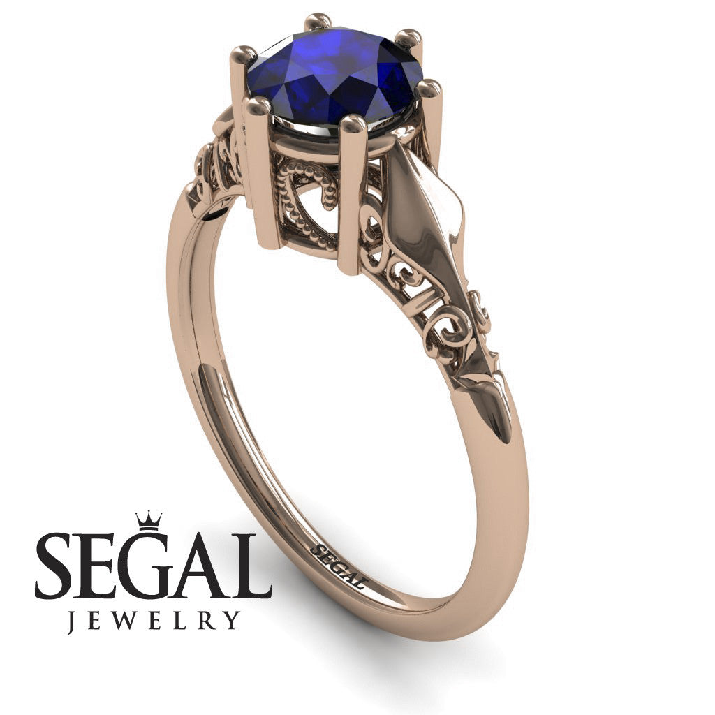 Art deco Leaves Structure Blue Sapphire Ring- Reagan no. 5