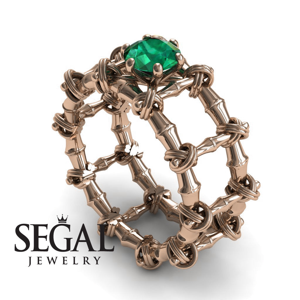 The Bamboo Power knot Green Emerald Ring- Sophia no. 5