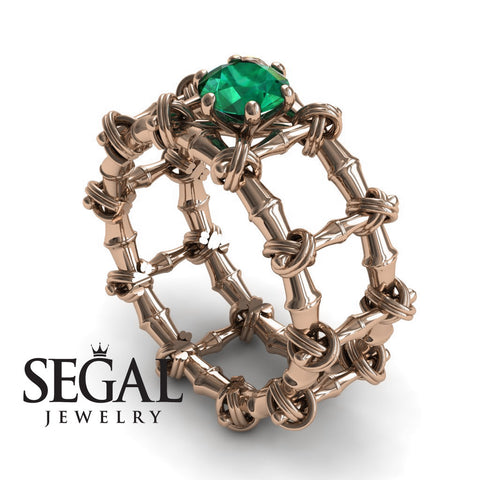 The Bamboo Power knot Green Emerald Ring- Sophia noº 5