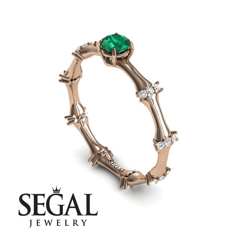 Fancy Bamboo Green Emerald Ring- Grace no. 11