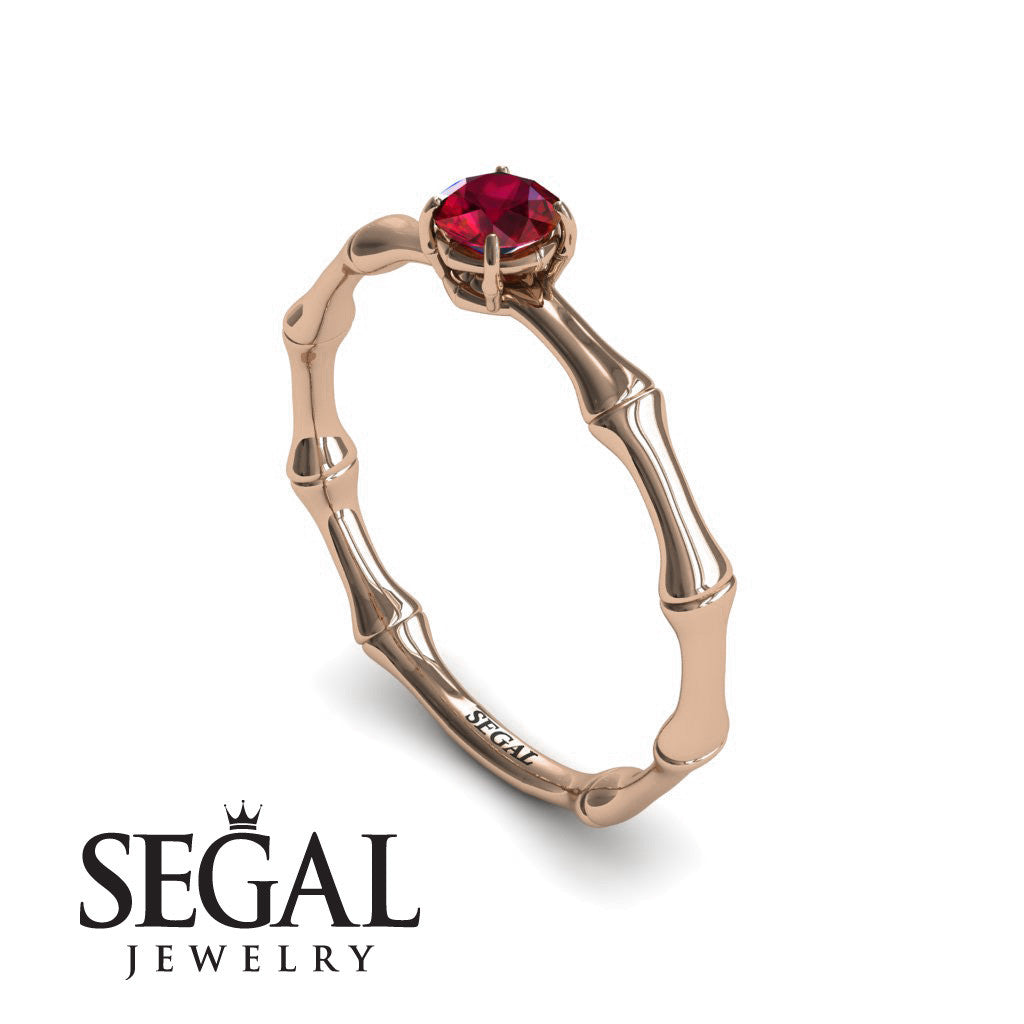 Solitaire Bamboo Ruby Ring- Charlotte no. 8