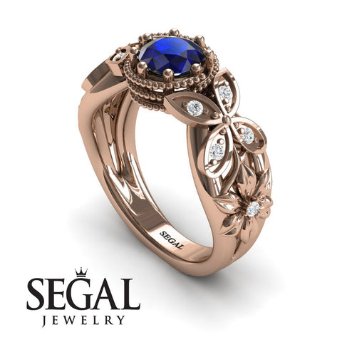 Mounted Circle Rounds Blue Sapphire Ring- Vivian no. 8