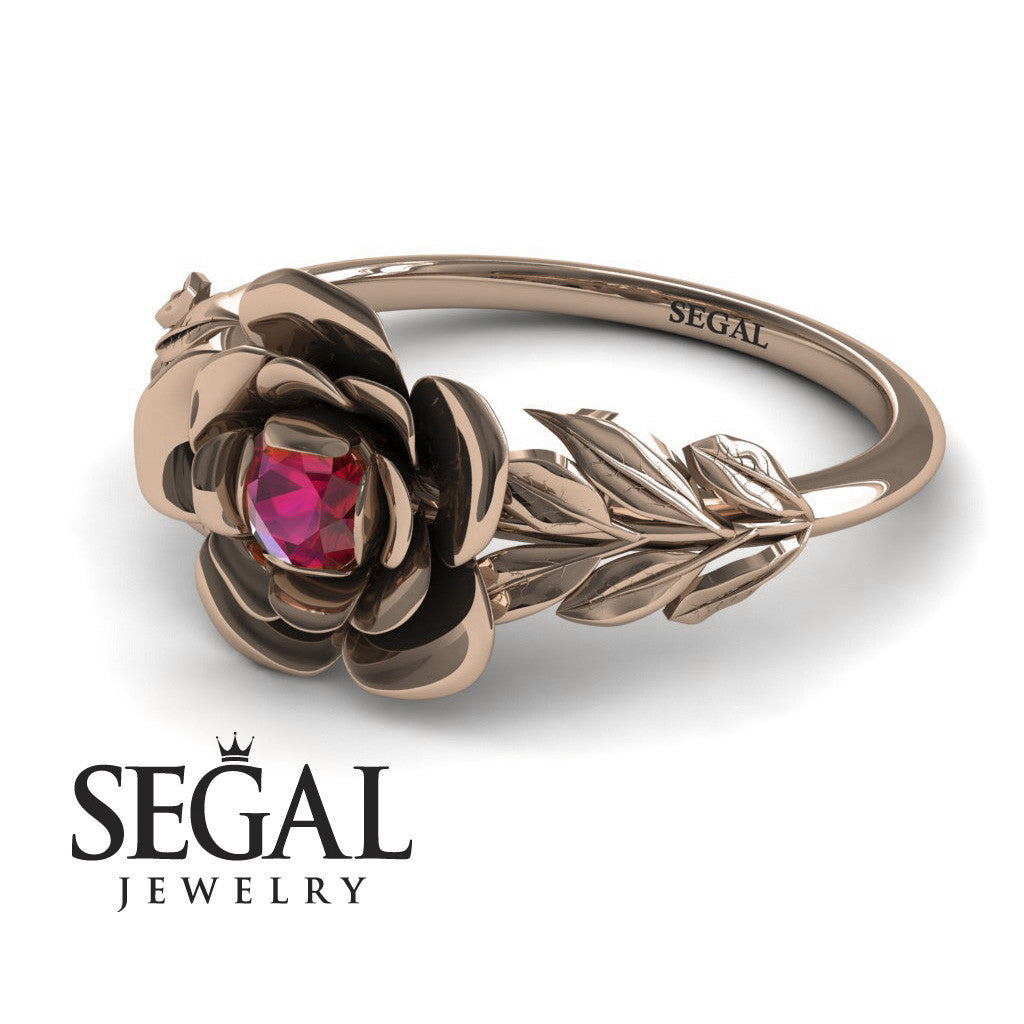 Soft Flower And Leafs Rubby Ring- Adalyn no. 8