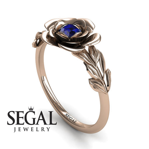 Soft Flower And Leafs Blue Sapphire Ring- Adalyn no. 5
