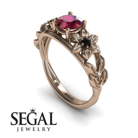 Leaf Flower Engagement Ring - Ella no. 14