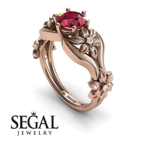 The 4th Season Flower Ring Ruby Ring- Lauren no. 8