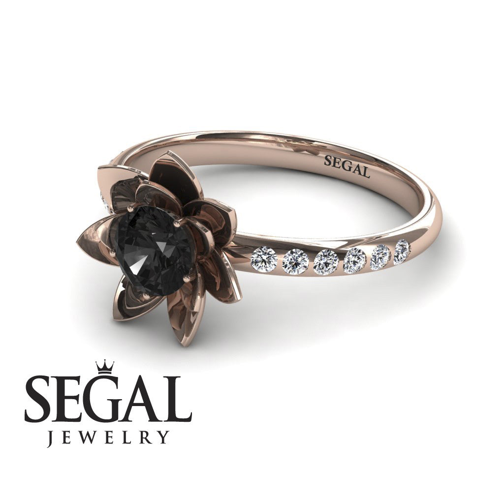 Flower Lotus Flower Engagement Ring - Lotus no. 5