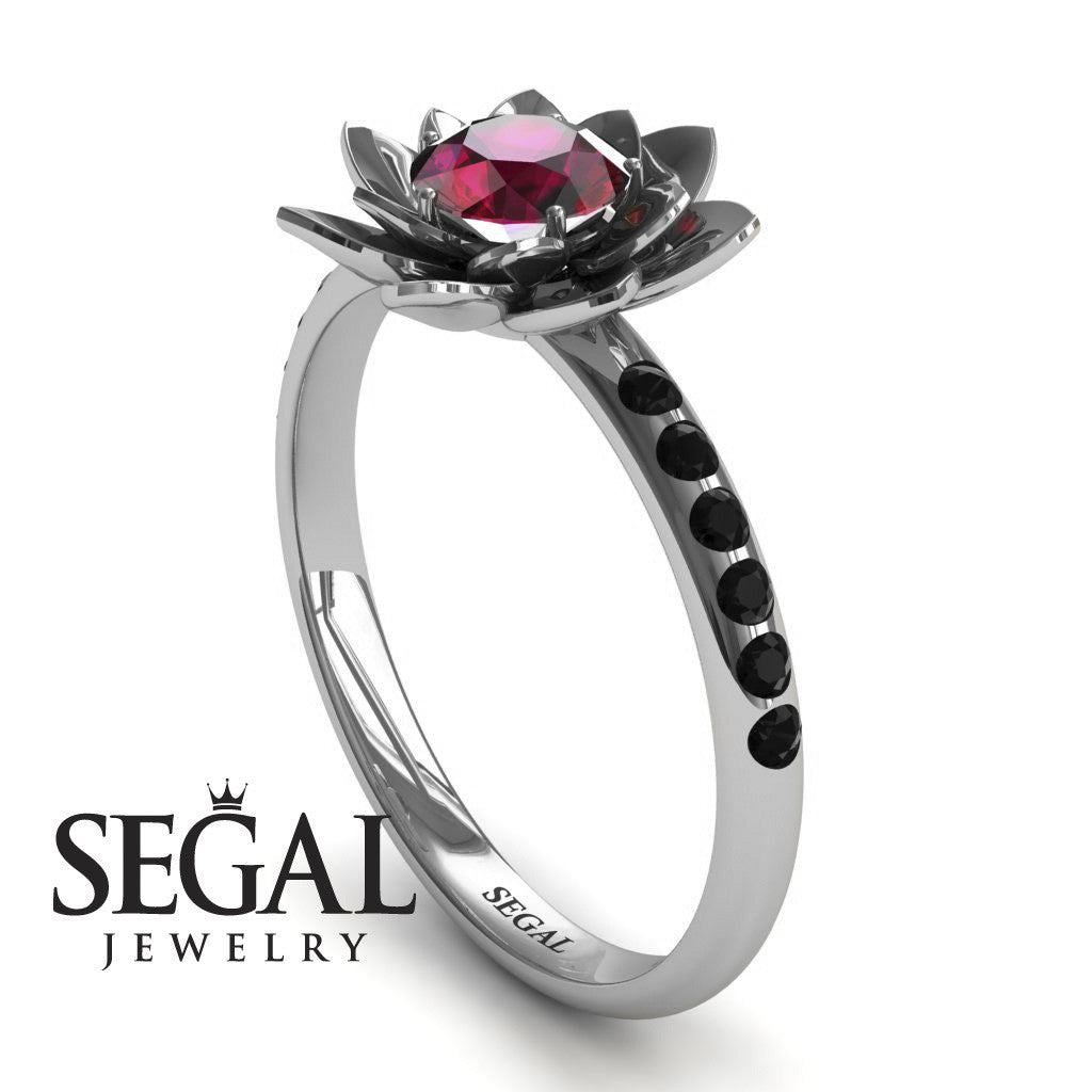 Flower Lotus Engagement Ring - Lotus no. 9