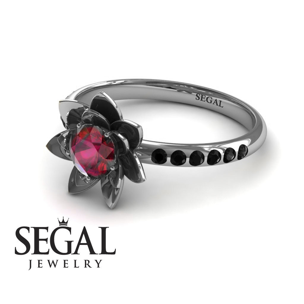 Flower Unique Engagement Ring - Lotus no. 9