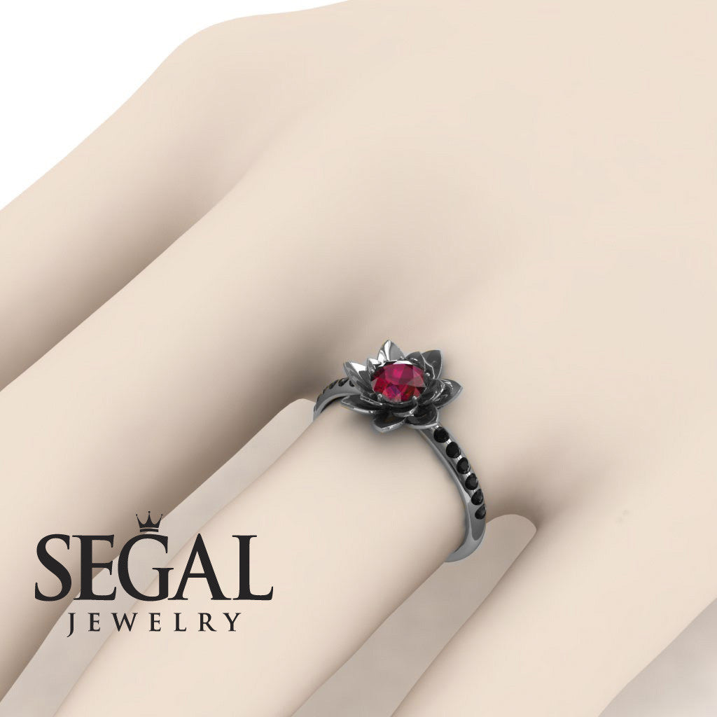 Pave Flower Engagement Ring - Lotus no. 9