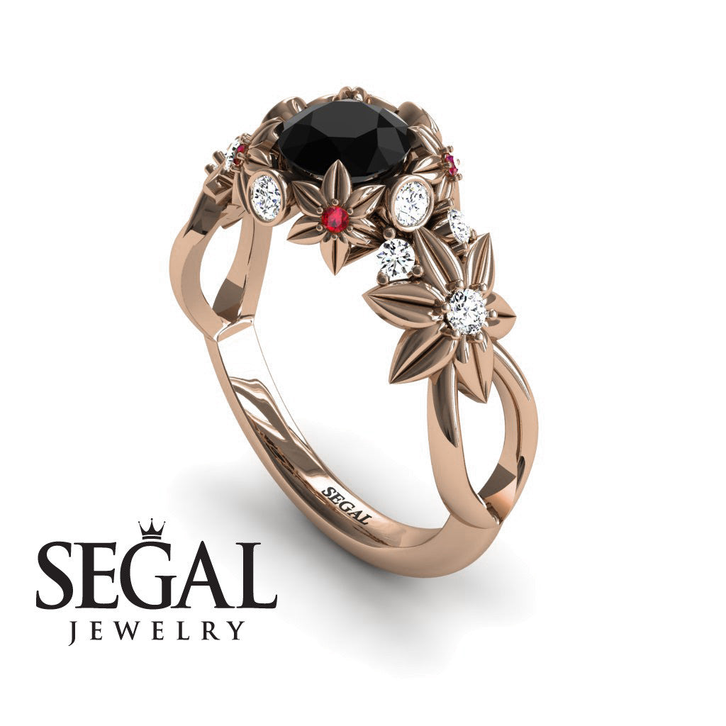 Women Flowers And Branches Black Diamond Ring - Katherine no. 11