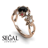 Flowers And Branches Black Diamond Ring - Katherine no. 11