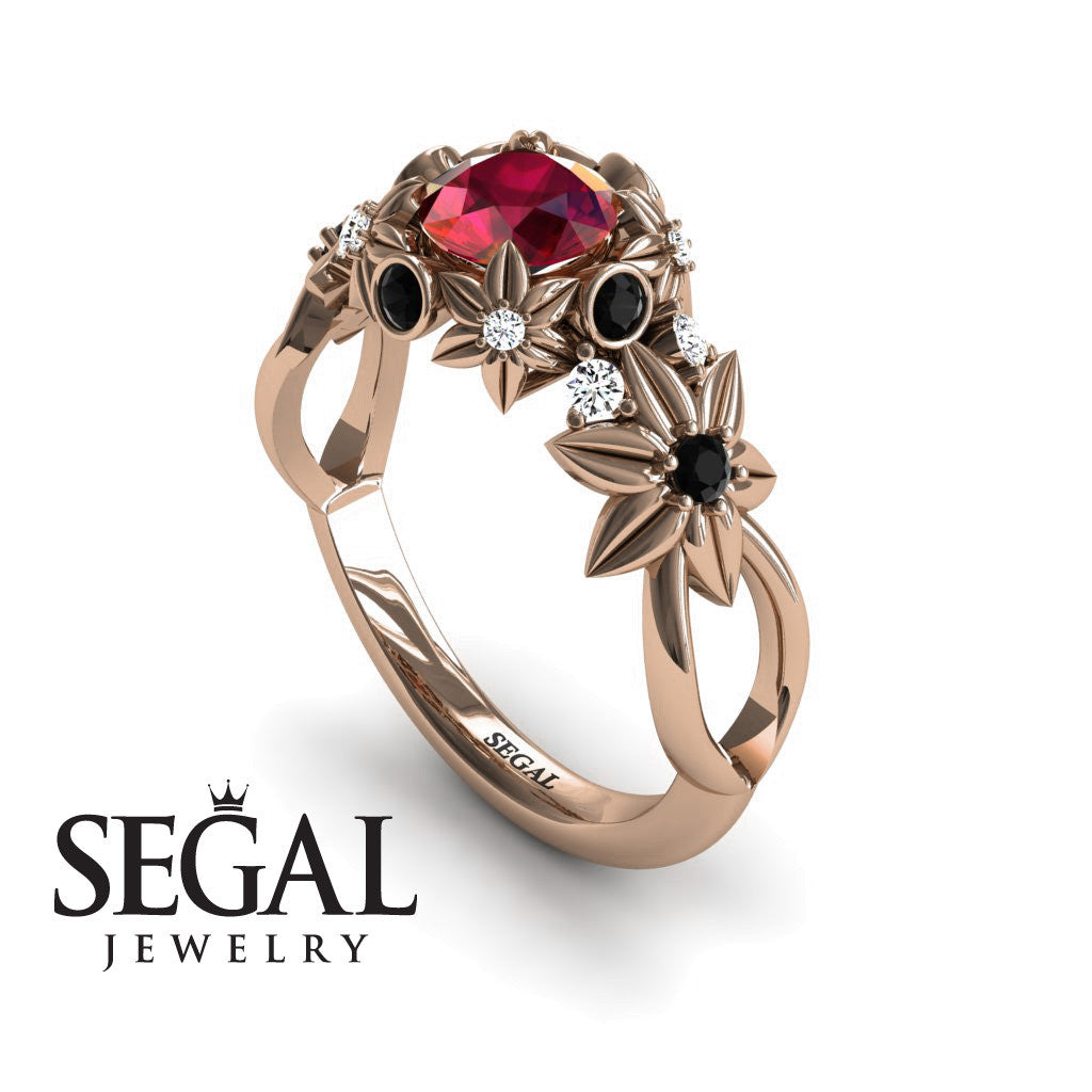 Flowers And Branches Ruby Ring - Katherine no. 5