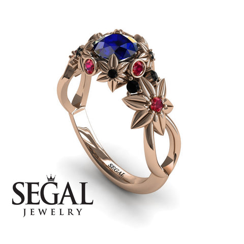 Flowers And Branches Blue Sapphire Ring - Katherine no. 14