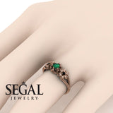 The Flower cocktail ring Green Emerald Ring- Kennedy no. 8