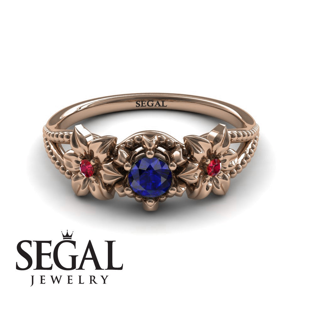 The Flower cocktail ring Blue Sapphire Ring- Kennedy no. 14