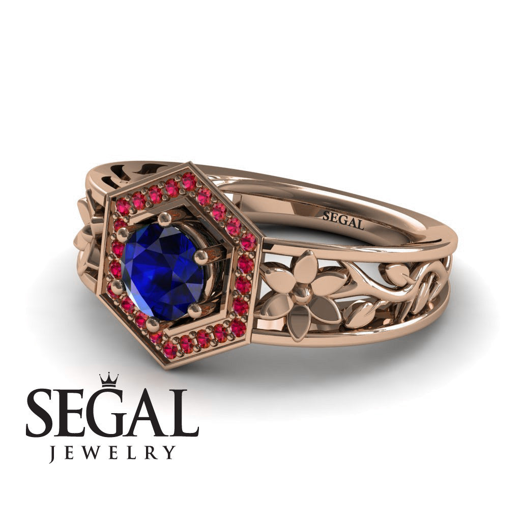 The Hexagon Flower Blue Sapphire Ring- Paisley no. 5
