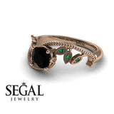 Leaf Relief Black Diamond Ring- Audrey no. 11