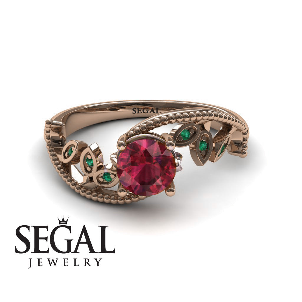 Leaf Relief Ruby Ring- Audrey no. 5