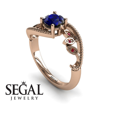 Leaf Relief Blue Sapphire Ring- Audrey no. 8