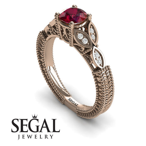 The Leaf Legend Ruby Ring- Adeline no. 11