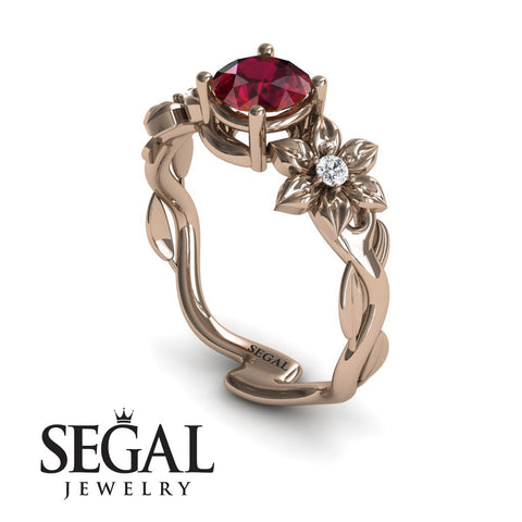 Leaves Floral Engagement Ring - Julia no. 5