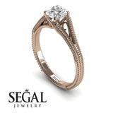 Solitaire Art Deco Engagement Ring - Eva no. 2
