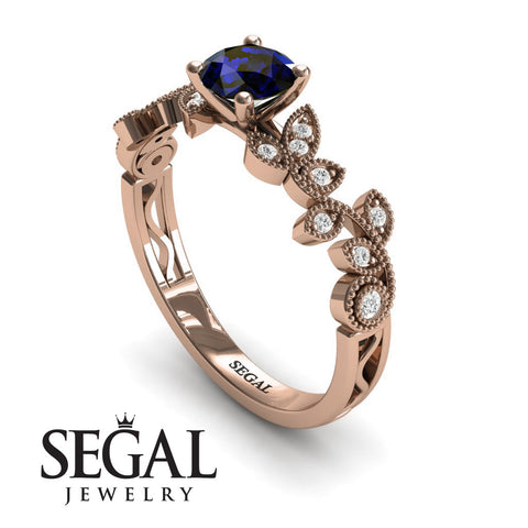 Leafs Falling On Me Blue Sapphire Ring- Alice no. 8