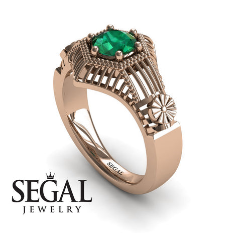Unique Engagement Ring 14K Red Gold Vintage Victorian Ring Edwardian Ring Filigree Ring Green Emerald - Savannah