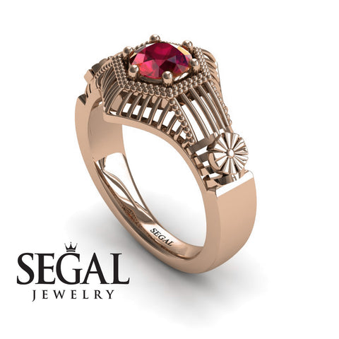 Unique Engagement Ring 14K Red Gold Vintage Victorian Ring Edwardian Ring Filigree Ring Ruby - Savannah