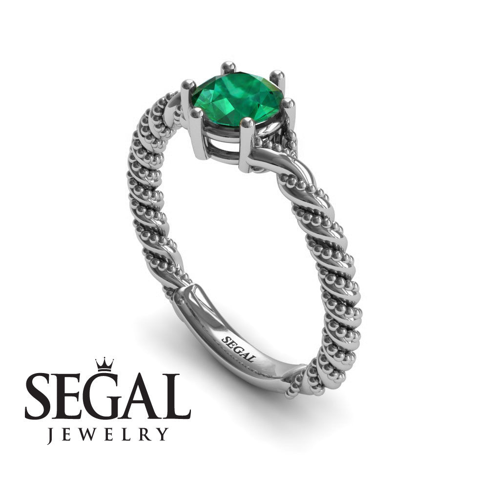 The Braid Ring Green Emerald Ring- Keira no. 6