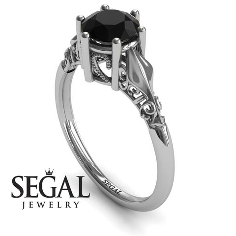 Art deco Leafs Structure Black Diamond Ring- Reagan no. 12