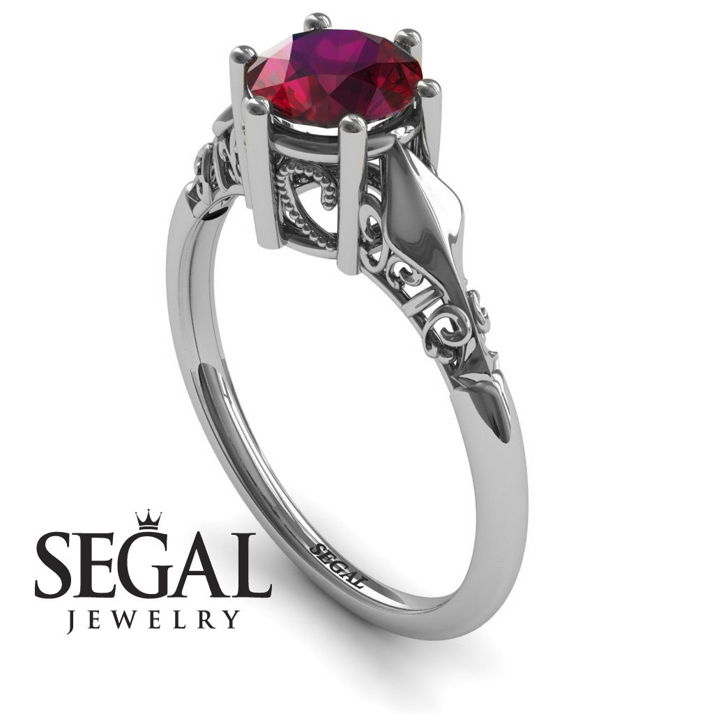Art deco Leaves Structure Ruby Ring- Reagan no. 9