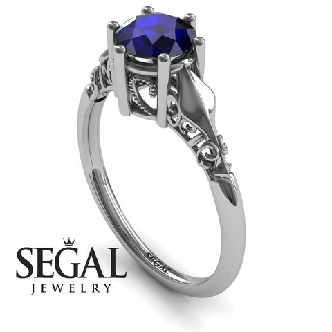 Art deco Leafs Structure Blue Sapphire Ring- Reagan no. 6