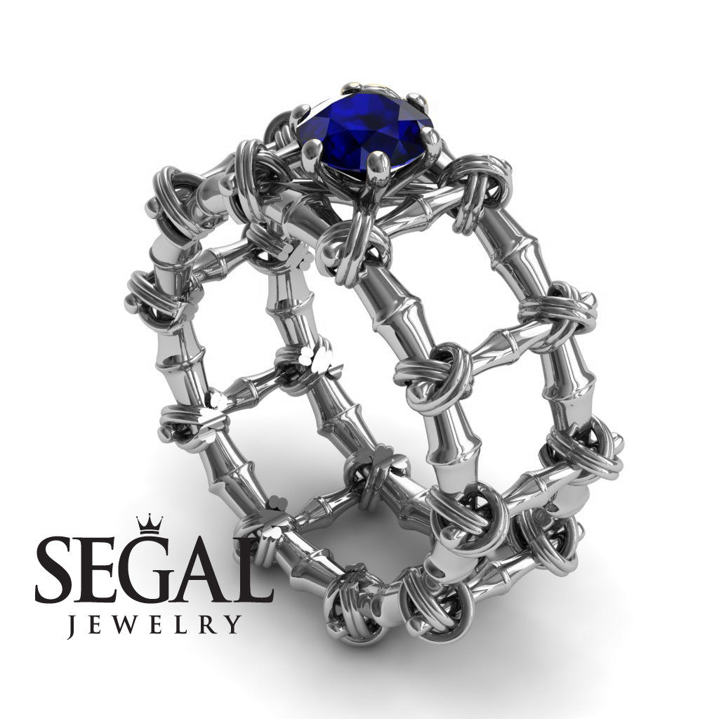 The Bamboo Power knot Blue Sapphire Ring- Sophia no. 9