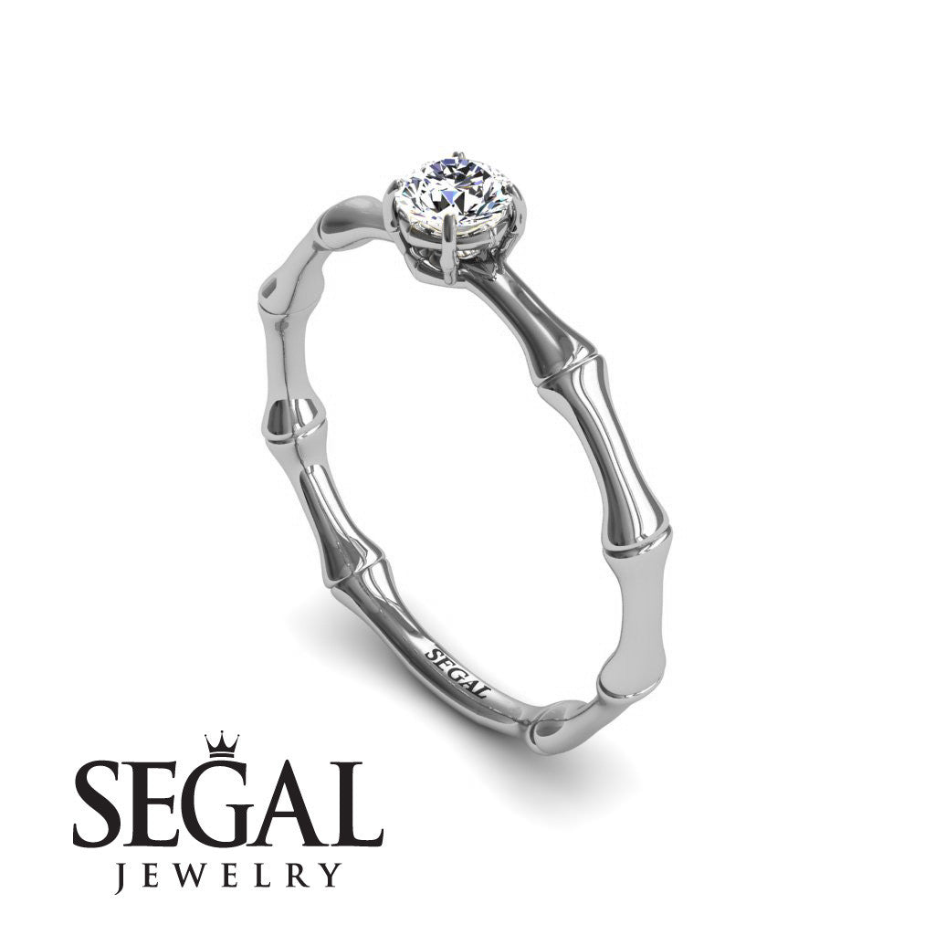 Solitaire Bamboo Diamond Ring- Charlotte no. 3