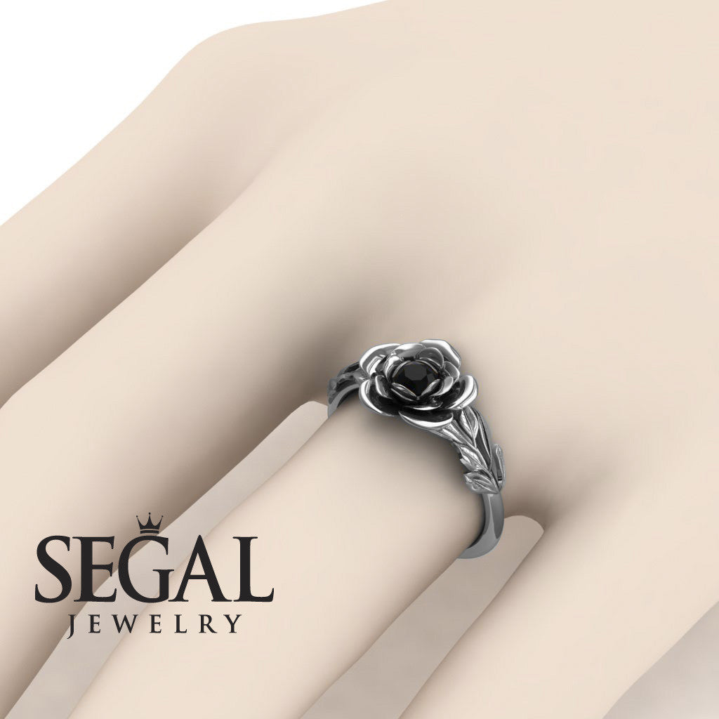 Soft Flower And Leafs Black Diamond Ring- Adalyn no. 12