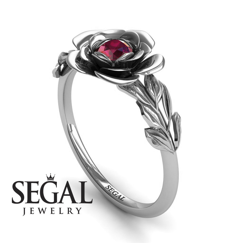 Soft Flower And Leaves Ruby Ring- Adalyn no. 9