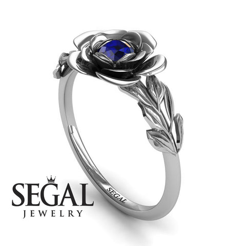 Soft Flower And Leafs Blue Sapphire Ring- Adalyn no. 6