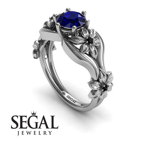The 4th Season Flower Ring Blue Sapphire Ring- Lauren no. 15