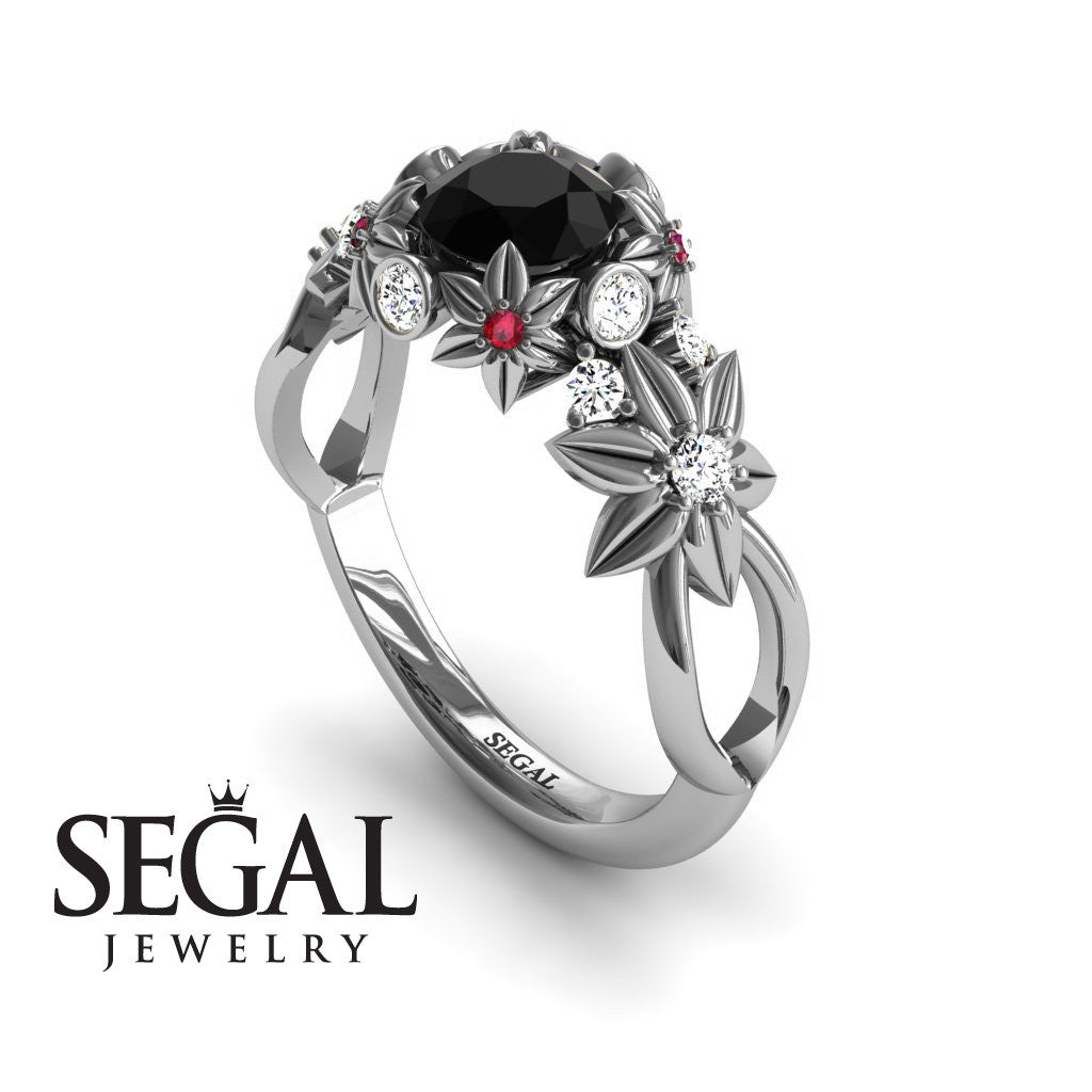 Flowers And Branches Black Diamond Ring - Katherine no. 12