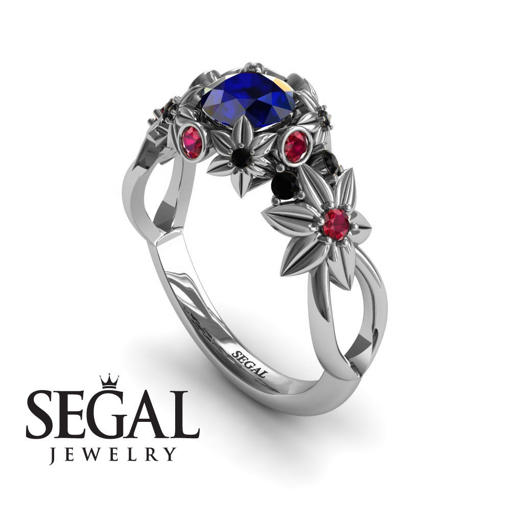 Flowers And Branches White Gold Blue Sapphire Engagement Ring - Katherine no. 15