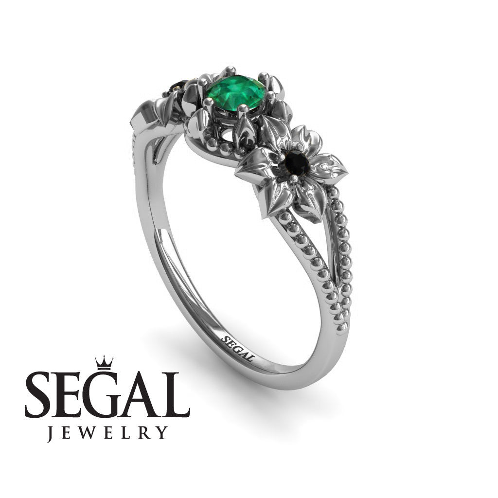 The Flower cocktail ring Green Emerald Ring- Kennedy no. 9