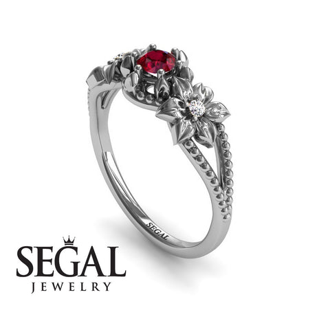 Leaf Flower Engagement Ring - Kennedy no. 6