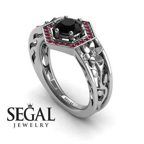 The Hexagon Flower Black Diamond Ring- Paisley no. 12