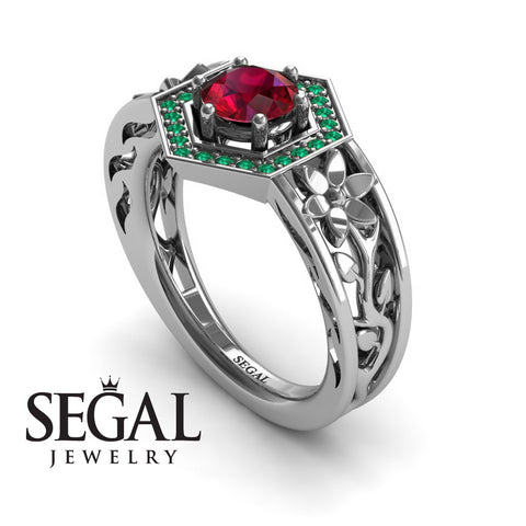 The Hexagon Flower Ruby Ring- Paisley no. 9