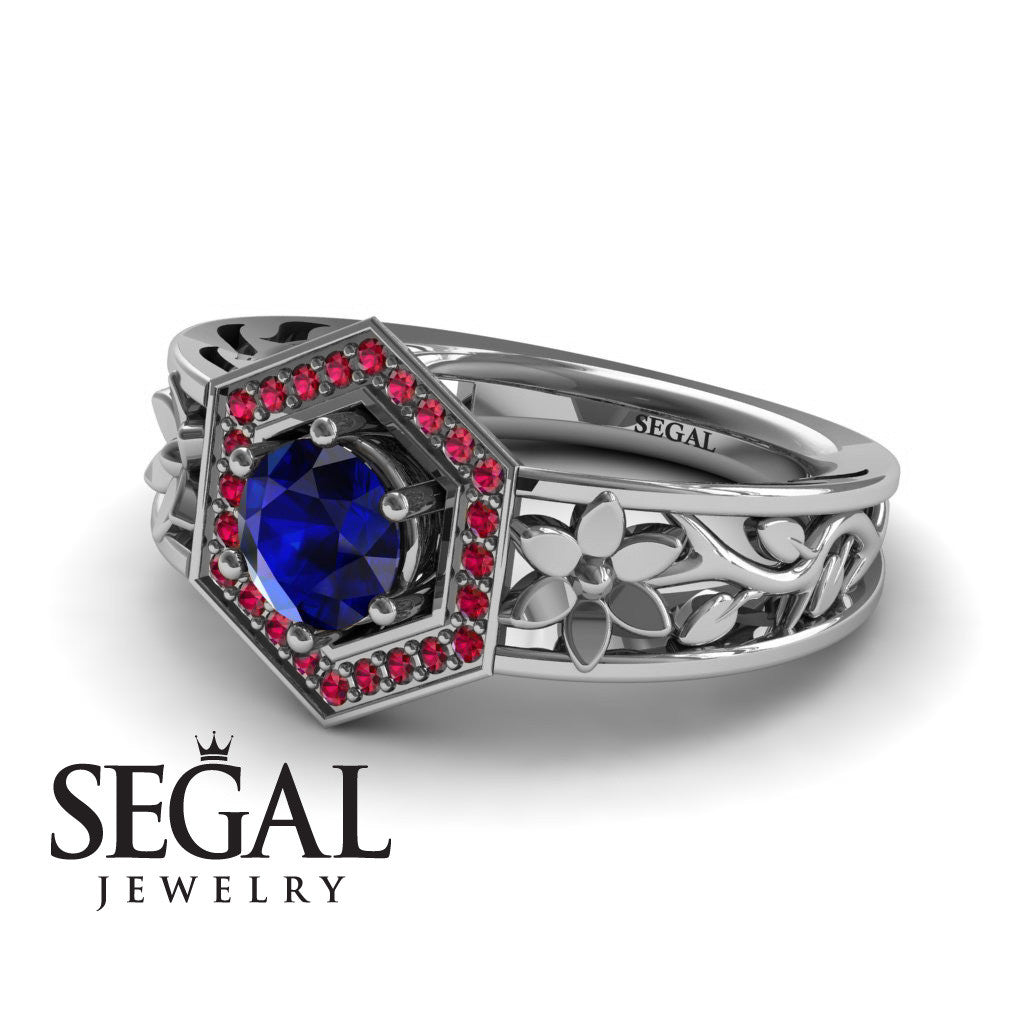 The Hexagon Flower Blue Sapphire Ring- Paisley no. 6