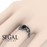 Leaf Relief Black Diamond Ring- Audrey no. 12