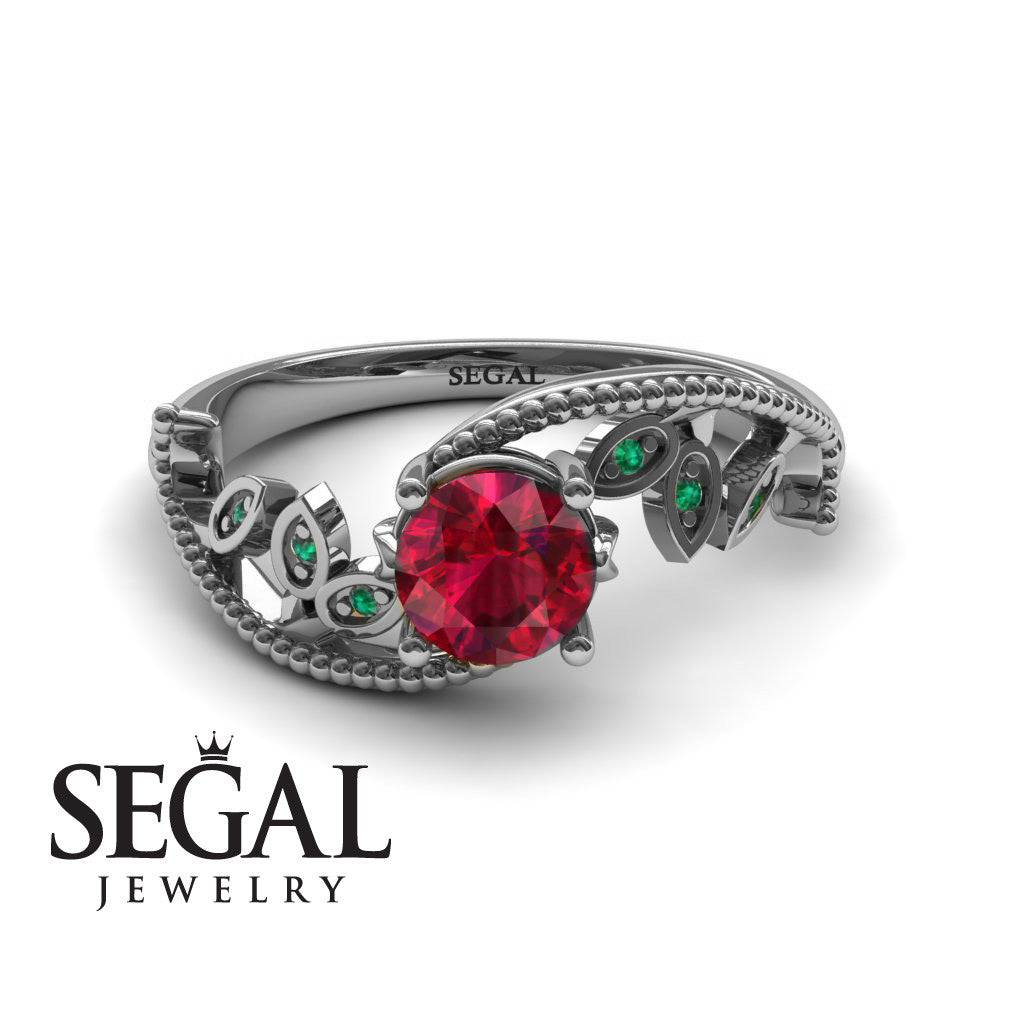 Leaf Relief Ruby Ring- Audrey no. 6