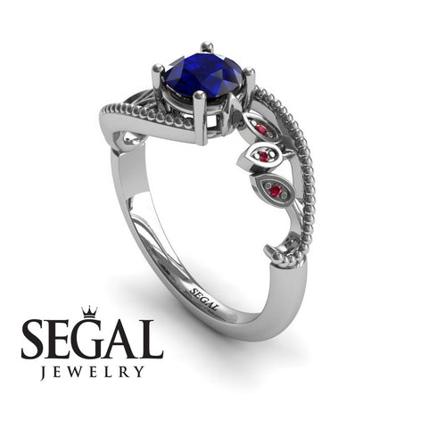 Leaf Relief Blue Sapphire Ring- Audrey no. 9